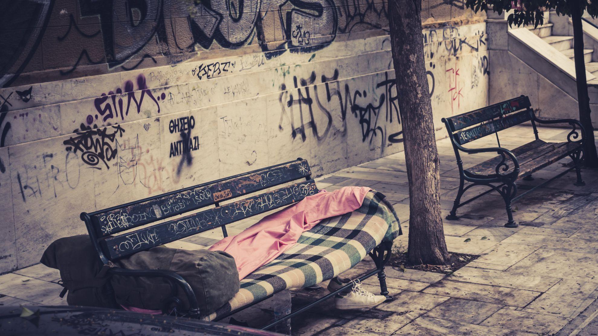 Ławka bezdomnego, Ateny, Grecja