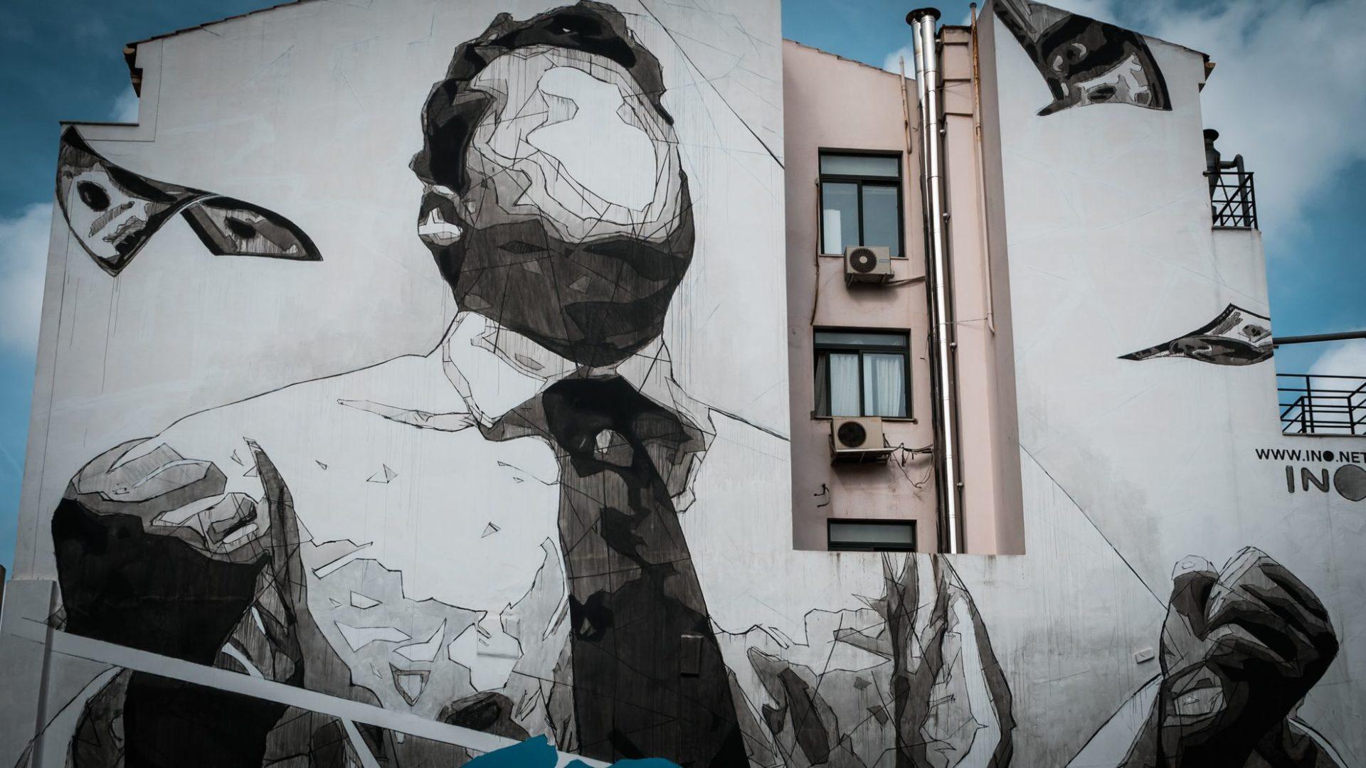 Graffiti bankier, Ateny, Grecja